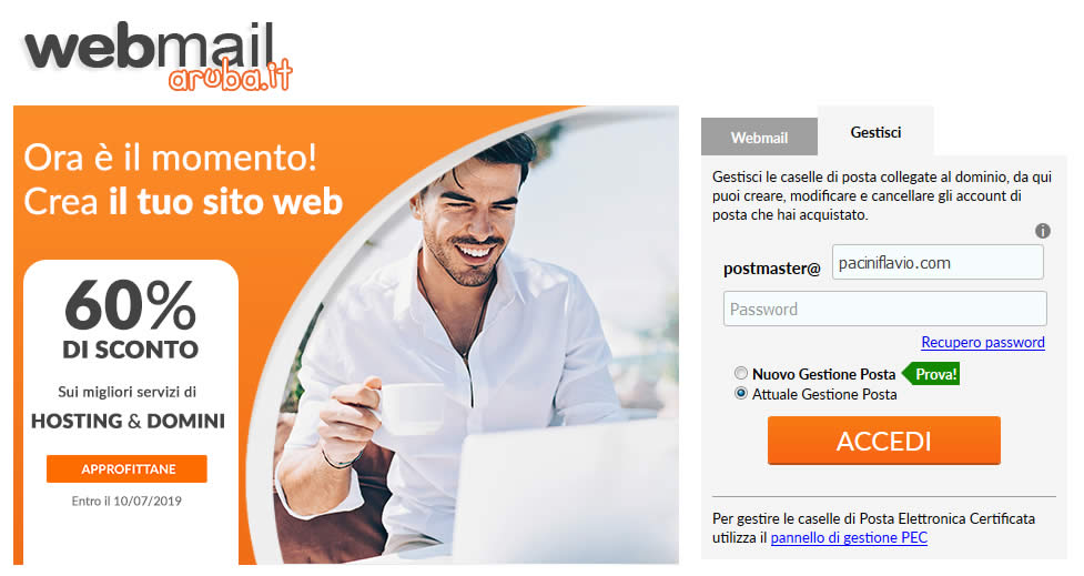 La schermata di accesso alla gestione della webmail di Aruba