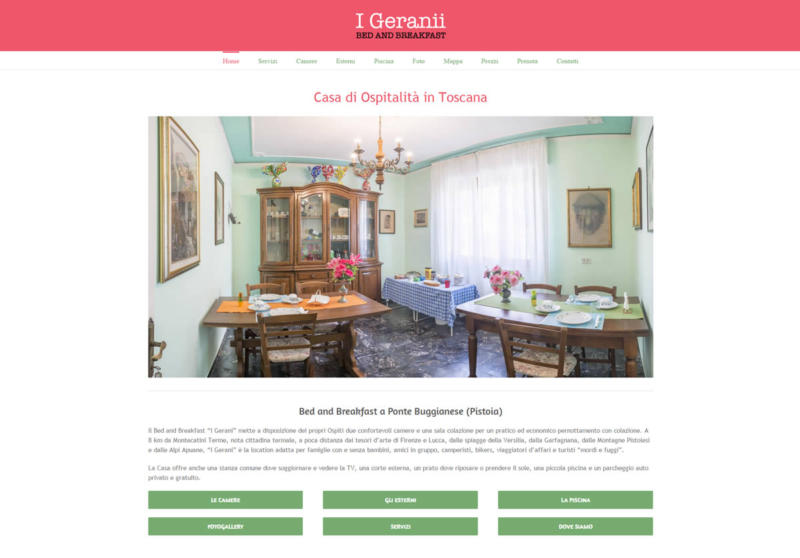 Sito bed and breakfast Geranii