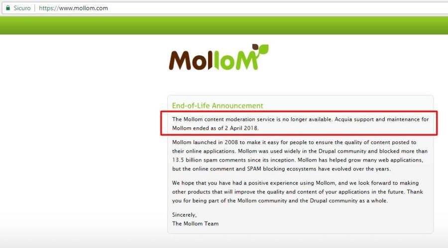 Screenshot del sito Mollom.com